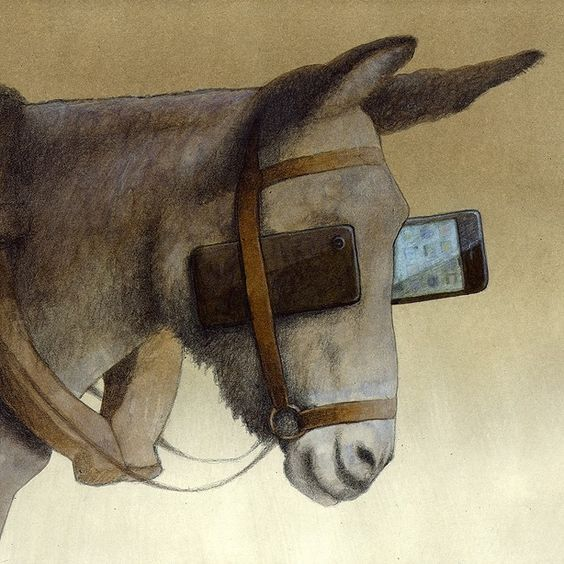 Blinkers ilustración de Pawel Kuczynski. Un burro con anteojeras y smartphones. Debord, sociedad del espectáculo