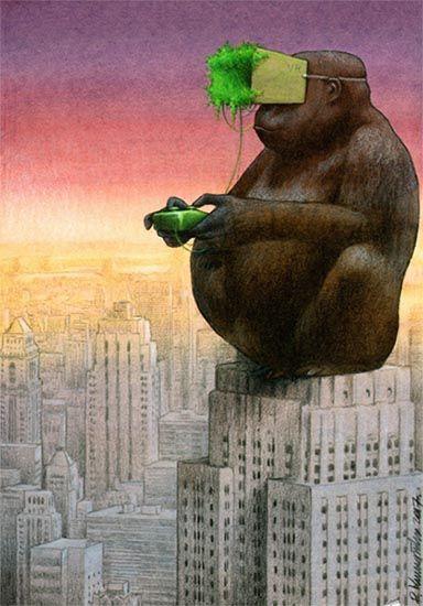 Hiperrealidad. Espectáculo y Simulacro VR ilustración de Pawel Kuczynski. King Kong Cine Empire State. Debord y Baudrillard