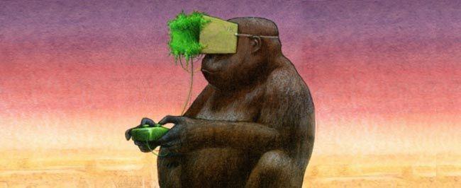 Destacada. Hiperrealidad. Espectáculo y Simulacro VR ilustración de Pawel Kuczynski. King Kong