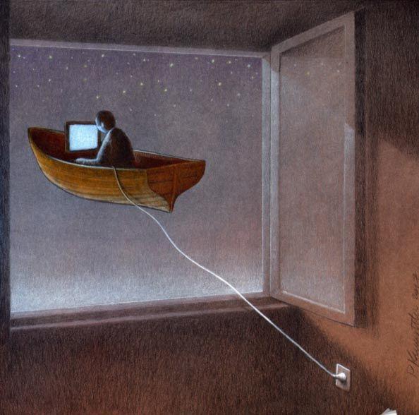 Libertad. Simulacro e hiperrealidad. Alienación. Anchor. Obra de Pawel Kuczynski. Simulacro Baudrillard