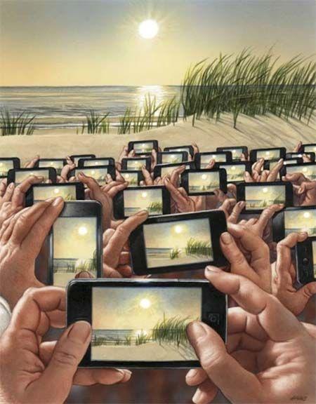 Contenido autorreferenciado e hipervisible. Ilustración satírica del artista Herhard Haderer. Fotografía puesta de sol.