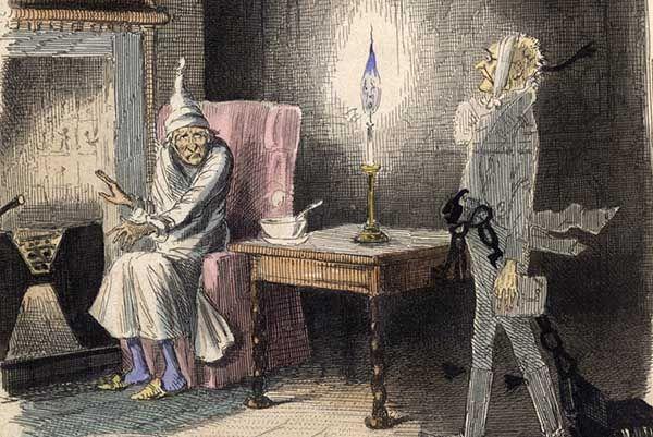 Ilustración del cuento Canción de Navidad de Charles Dickens. John Leech