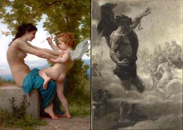 Iconos, Art Pompier, Academicismo. Obras: Joven defendiéndose de Eros de Bouguereau y Le titan de Cabanel