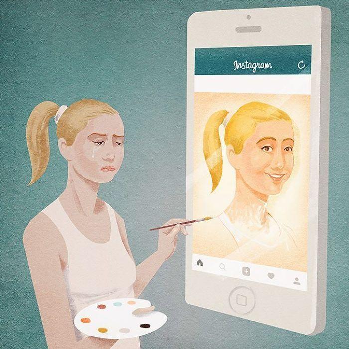 Avatar social. Obra de Marco Melgrati. Guache sobre papel. Hecha para el Artlife Fest 2020 de Moscú.