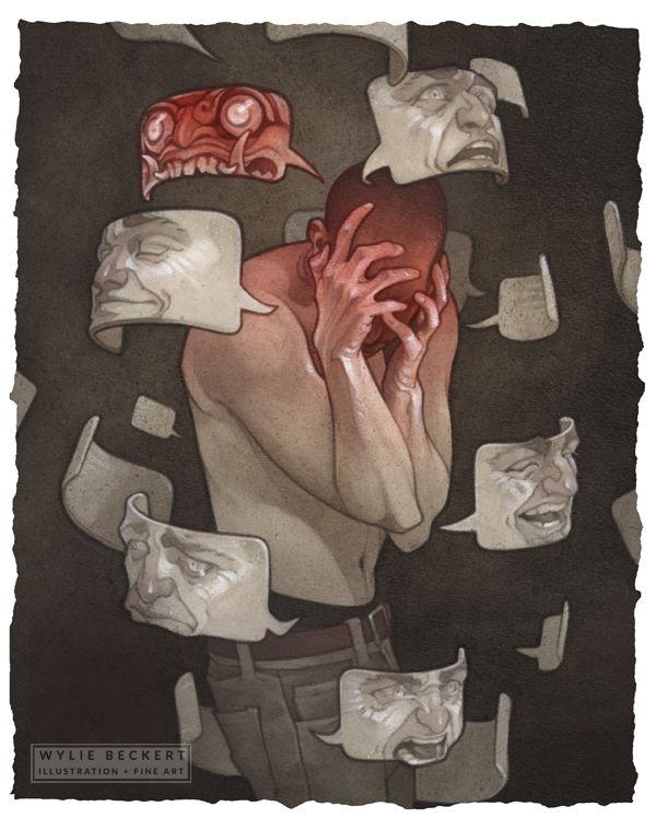 Masks. Ilustración de Wylie Beckert. El yo y el mi de George H. Mead.