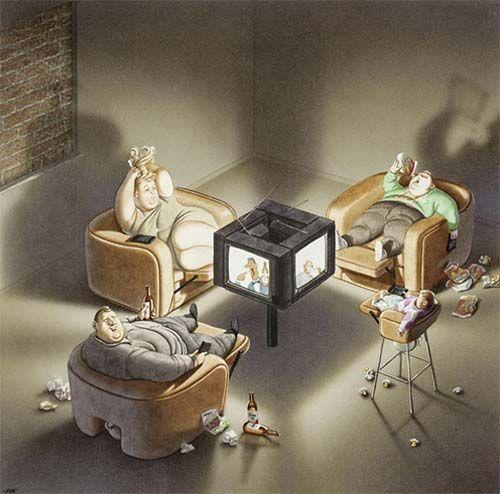 Hipervisible. Transmedia. Realidad o Ficción. Ilustración satírica del artista Austriaco Gerhard Haderer.