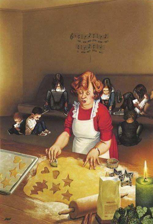 Transmedia. Autorreferencia. Hipervisible. Ilustración satírica del artista Austriaco Gerhard Haderer.