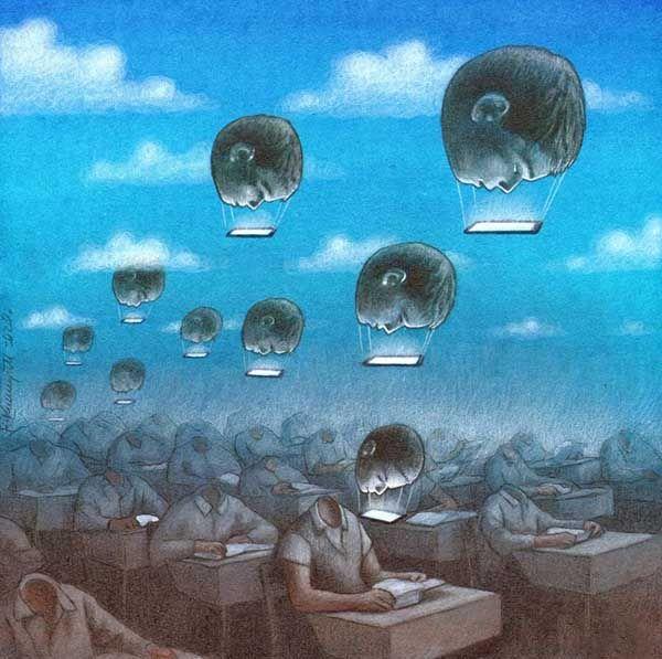 Odloty. Obra de Pawel Kuczynski. Medios todopoderosos. Determinismo tecnológico.