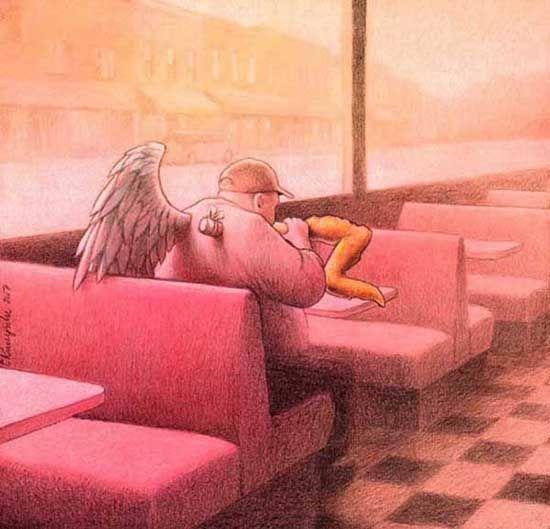 Fried Wings. Obra del artísta Pawel Kuczynski. La alegoría del tonto y el gordo. Consumismo.