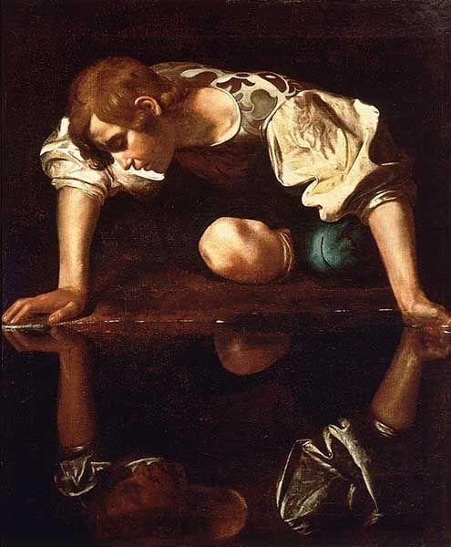 Narciso. Obra de Caravaggio. Pintada entre 1594 y 1596. Narcisismo y redes sociales.