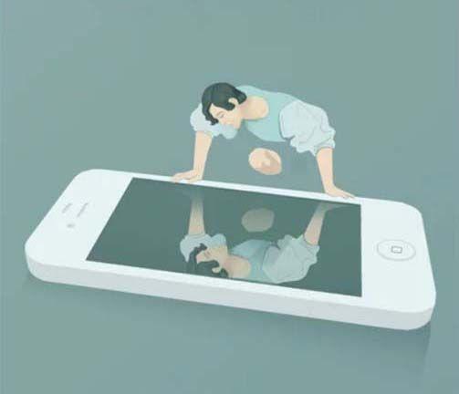 Social Media Narcissims. Ilustración de Marco Melgrati. Narcisismo y redes sociales.