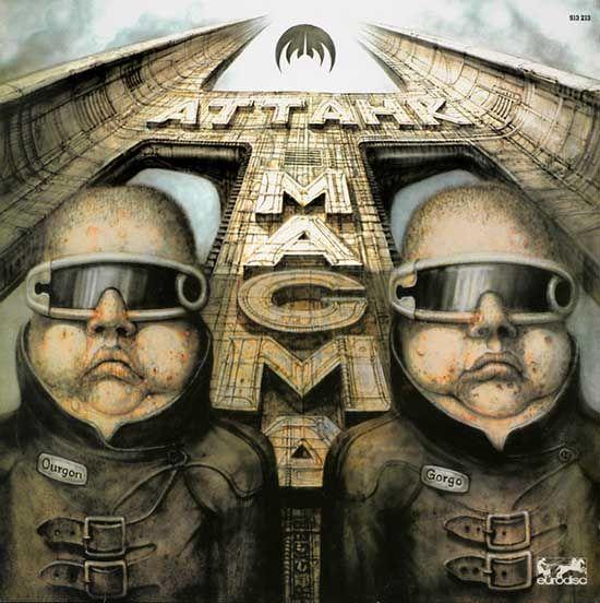 Magma portada disco Attahk de 1978. Obra del pintor surrealista suizo H. R. Giger.