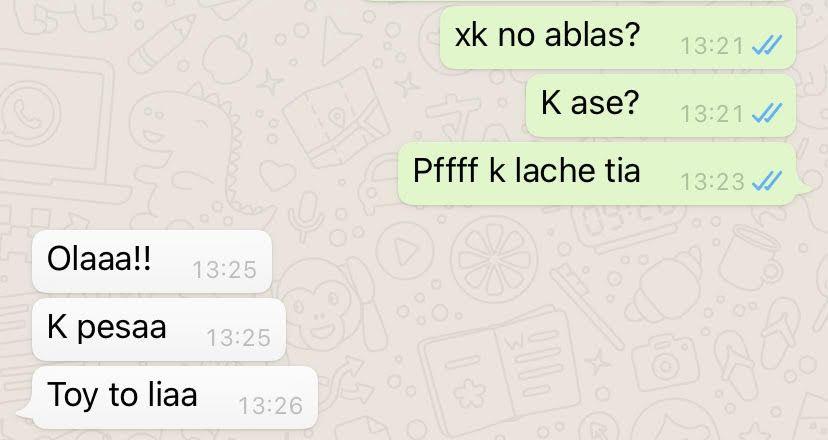 k lache. Escribir Mal. Conversación de Whatsapp