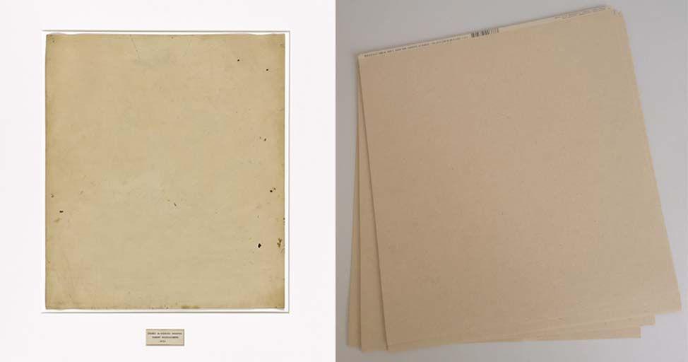 Dibujo de De Kooning borrado y cartulinas de librería. El arte conceptual. Arbitrariedad del signo, significado y significante.