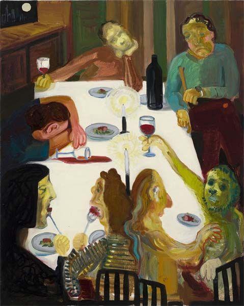 Gente en casa bebiendo. Winter Solstice 2012 Dinner Party (2009). Obra de Nicole Eisenman.