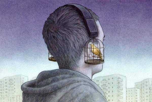 Obra de Pawel Kuczynski. Un joven con auriculares que son jaulas y pájaros. Metáfora de nuestra jaula actual que es la tecnología.