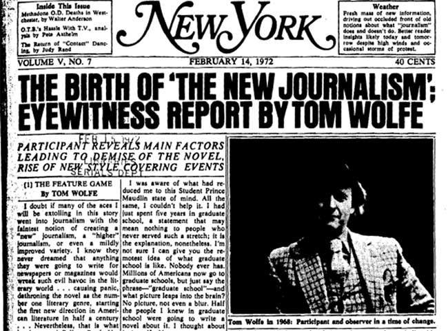 Recorte de periódico. El nuevo periodismo de Tom Wolfe