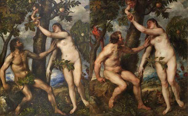 Adán y Eva de Tiziano a la izquierda y de Rubens a la derecha. Sobre arte motivado, distinción y kitsch