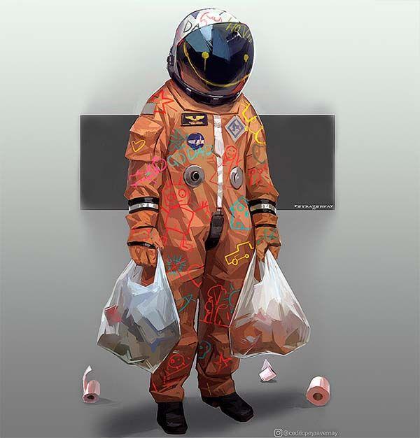 Shopping, Ilustración del artista Cedric Peyravernay. Hombre bestido de astronauta comprando durante la pandemia del covid.