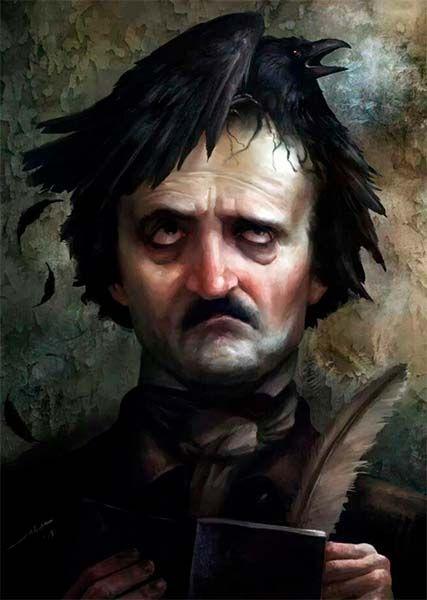 Edgar Allan Poe. Ilustración del artista italiano Alberto Dal Lago