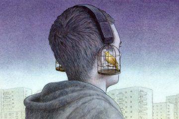 Obra de Pawel Kuczynski. Un joven con auriculares que son jaulas y pájaros. Portada. Imagen destacada