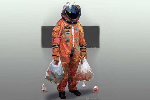 Imagen destacada artículo sobre consumo de alcohol y confinamiento. Ilustración: Shopping, de Cedric Peyravernay.