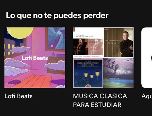 Recomendaciones de Spotify. Lo-fi y música clásica