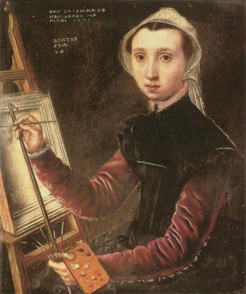 Autorretrato de la artista flamenca Catharina van Hemessen (1548). Retratista Medieval