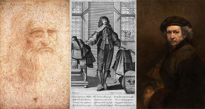 De artesano a Artista. Leonardo da Vinci (posible autorretrato, 1512-1515), Abraham Bosse (autograbado comercial, 1635) y Rembrandt (autorretrato, 1659)