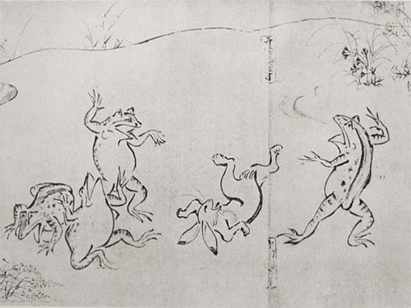 Ranas y un conejo. Pintura del S. VII de los Rollos Chôjûgiga que relatan historias sobre la cultura del Japón de esa época. En artículo sobre manga-anime