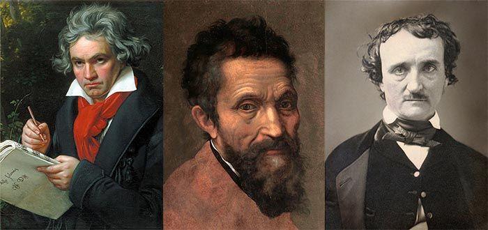 Ludwig van Beethoven (Joseph Karl Stieler, 1820), Miguel Ángel (Daniele da Volterra, 1544), Edgar Allan Poe (daguerrotipo, 1849, fotógrafo desconocido). Artistas, compositores, escritores.