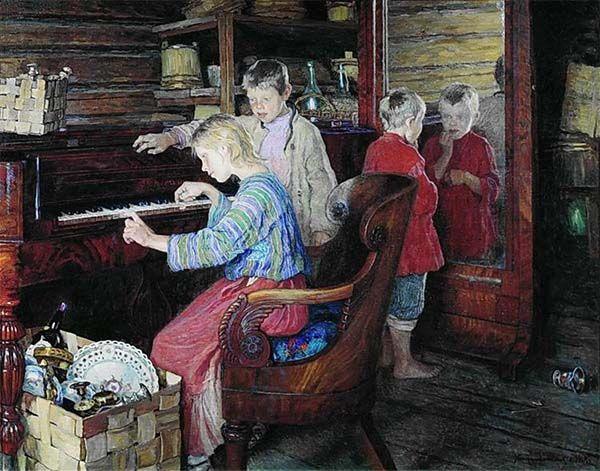 Niños al piano. Children at the piano, obra de Nikolay Bogdanov