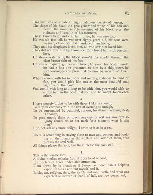 Versos del poema Children of Adam de Walter Whitman. Amor, físico y espíritu.