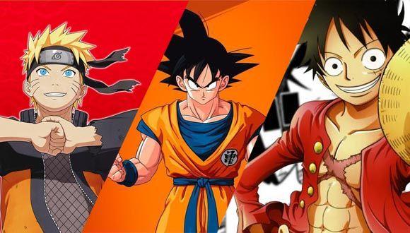 Manga-anime famosos. Naruto, dragon ball y one piece. Negocio y entretenimiento