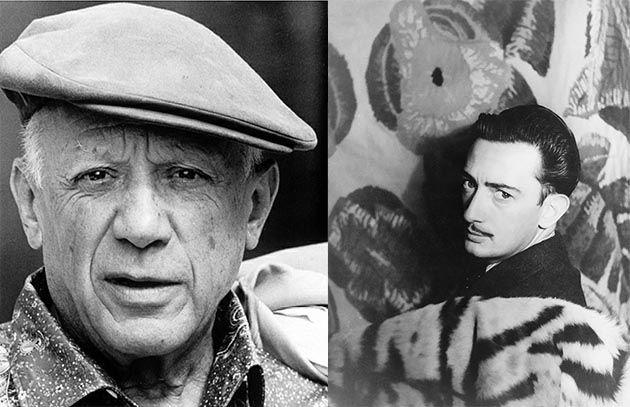 Retrato de los artistas Pablo Picasso y Salvador Dalí.