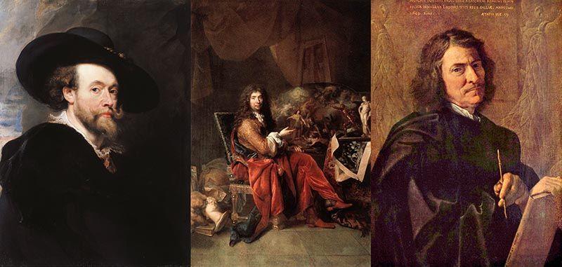 Pedro Pablo Rubens, Charles Le Brun y Nicolas Poussin. Artistas emancipados. Clásico, barroco y renacimiento.