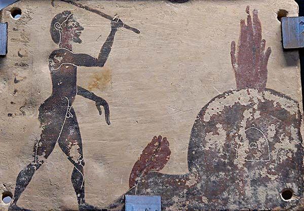 Artesano alfarero. Taller. Placa Corintia. Antigua Grecia