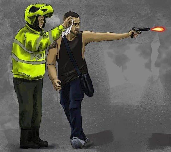 Cuerpo de seguridad limpiando el sudor a joven con pistola. Colombia 2021