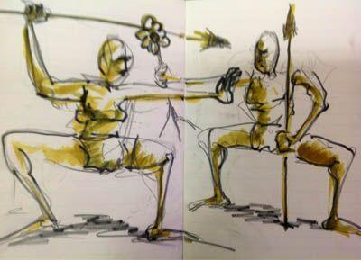 Hombres primitivos. Obra de J. Barbadilla