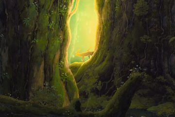 Fotograma de La princesa Mononoke (1997) de Hayao Miyazaki. Ciervos en el bosque. Ecología y tradición