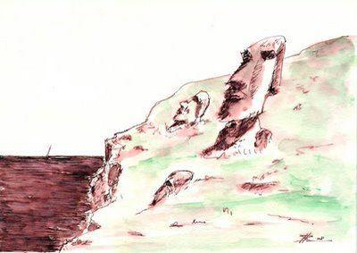 Moáis, la naturaleza humanizada de Alberto Caeiro. Imagen, obra de J. Barbadilla