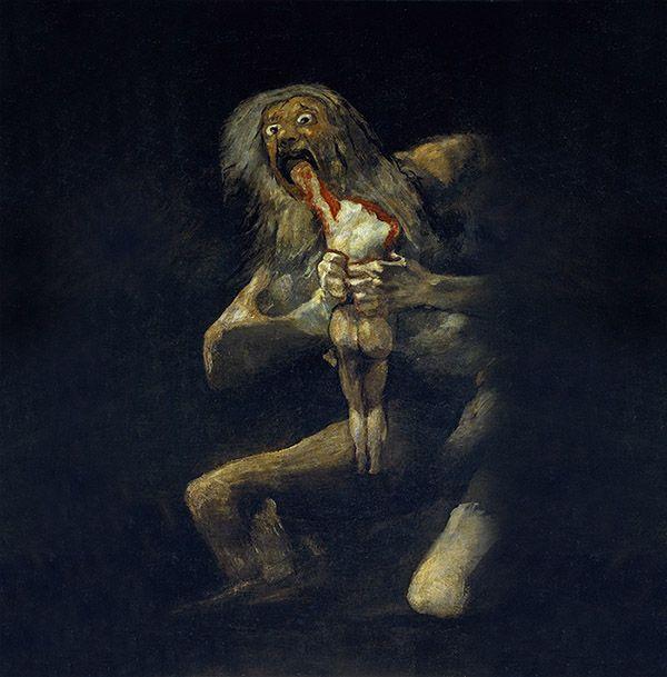 Saturno devorando a su hijo, de Francisco de Goya. Pinturas negras.