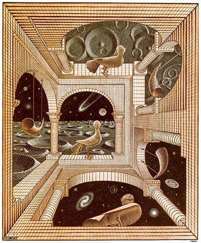 Otro mundo (1947), de M.C. Escher. Para ilustrar el análisis de Tlön de Borges.