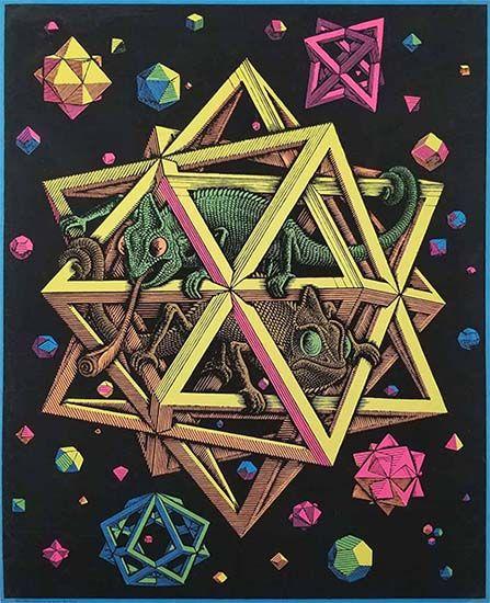 Stars (1948), obra de M.C. Escher. Ilustrando el artículo sobre Fervor de Buenos Aires y Tlön, de Jorge Luís Borges.