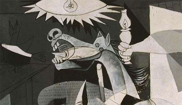 Fragmento del Guernica de Picasso en que se ve aparecer la puntilla por la boca del caballo.